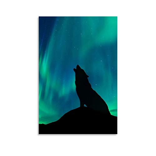 asdw Animal Art Poster Wolf Under The Northern Lights Poster Decorative Painting Canvas Wall Art Living Room Posters Bedroom Painting 12x18inch(30x45cm)