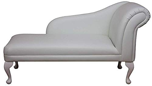 52' Large Classic Chaise Longue - Sofa Day Bed - Frozen White Faux Leather - Right Facing With Queen Anne Legs