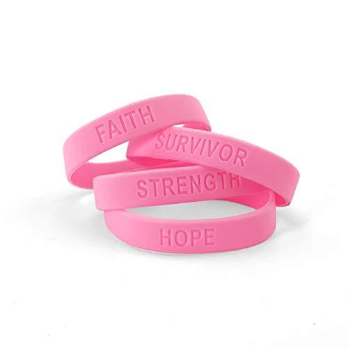 Ifavor123 Pack of 144 Strength Faith Hope Survivor Breast Cancer Awareness Pink Wristband Bracelets