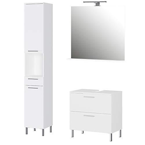 Germania 3-tlg. Badezimmer-Set 8551-84 GW-Arvada, bestehend aus Waschbeckenunterschrank, Spiegel und Hochschrank, in der Farbe Weiß