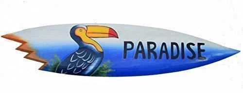 Interlifestyle Tabla de Surf con Tucán Motivo y Paradise Inscripción IN 100cm Letrero de Madera Tabla de Surf Lounge Estilo Decoración