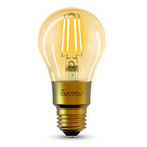 Bombilla Led Inteligent WiFi E27 Vintage Edison Lamparas 650Lm 6W=60W Equivalente Luz Fría y Cálida Ajustable No Requiere Hub, Compatible con Alexa y Google Home para Lluminación y Decoración
