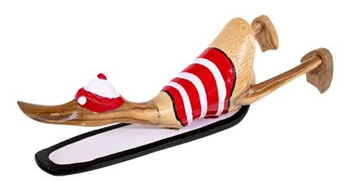 kenai-deko Ente Holz Surfbrett 25 cm, Ente Surft, Teak Holz Ente + Surfbrett, Surfing wodden Duck 25 cm