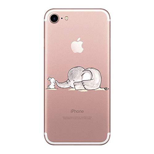 Oihxse ersatz für iPhone 8 Hülle, iPhone 7 Hülle Glitzer Weiche Ultra Dünn huelle iPhone 8 Transparent Slim Silikon TPU Durchsichtig Kratzfeste Stoßfest Schutzhülle für iPhone 8/7 (Elefant)