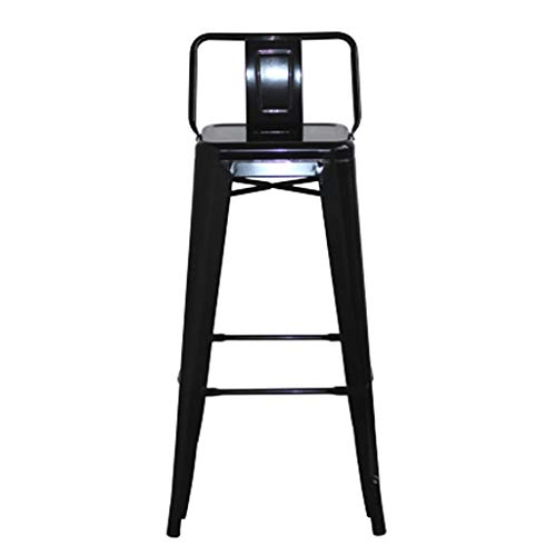 Barhocker Hausbar Stuhl Eisen Hocker Hochstuhl Zurück Kaffee Hocker (Color : Black, Size : 66cm)