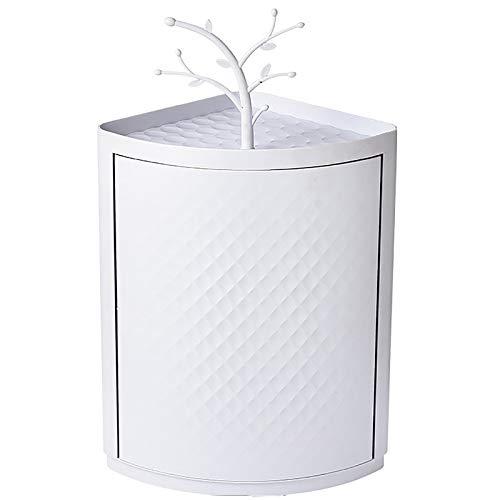 ジュエリーボックス プラスチック壁掛けコーナー収納キャビネットトイレの三角形のラック化粧品収納ボックス 女性 女の子用 (色 : 白, Size : 36.5x23x29.5cm)