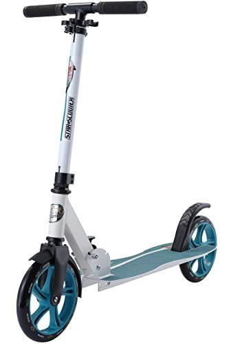 Star-Scooter Aluminium Kick Scooter Kinder Tret Roller für Jungen und Mädchen ab 7 Jahre | Big 205mm Wheel mit Wave Trittbrett auch für Erwachsene | Weiß