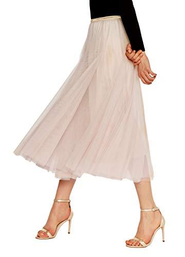 Luna et Margarita Jupe Beige Mi Longue Femme Tutu en Voile à Couches Plissée avec Taille Contrastante Taille XL