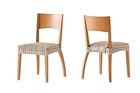 Pack de 2 Fundas de Asiento para silla modelo MEJICO, color BEIGE, medida 40-50 cm ancho.
