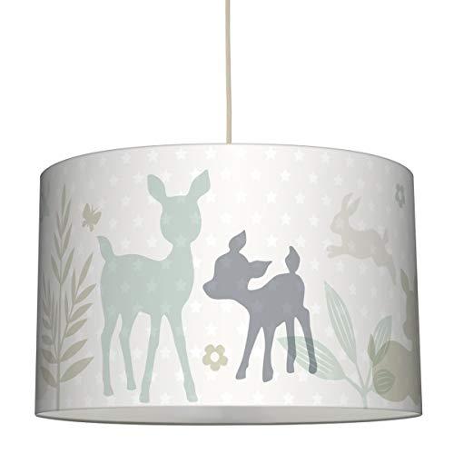 lovely label Hängelampe HÄSCHEN & REHE Mint/GRAU/BEIGE – Lampenschirm für Kinder/Baby, Schirm mit Rehkitz, Hasen und Sternen – Komplette Hängeleuchte für Kinderzimmer Mädchen & Junge