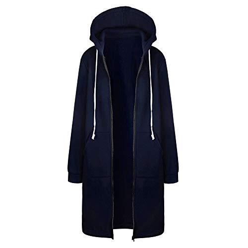 DAY8 Damen Warm-Reißverschluss öffnen Hoodies Sweatshirt Lange Mantel-Jacke Tops Outwear(Marine, L)