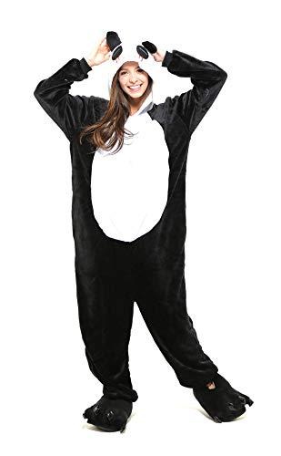Tante Tina Ganzkörperkostüm Panda für Erwachsene - Pandakostüm für Erwachsene aus kuschligem Plüsch und Flannel - Schwarz/Weiß - Größe L