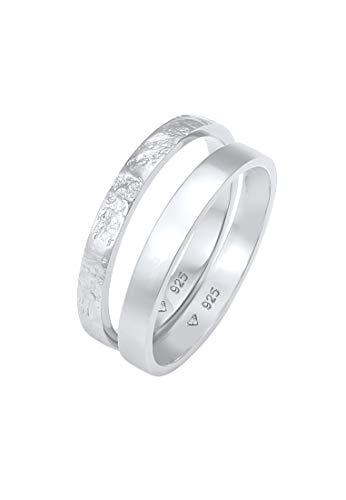 Elli Anillos Set de anillos para damas Look Básico Martillado Combinable en Plata de Ley 925 bañados en oro