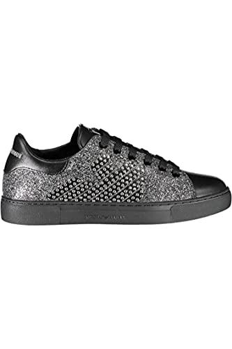 Emporio Armani Sneakers aus Leder mit Glitzer-Details und Nieten, Schwarz - Schwarz - Größe: 40 EU
