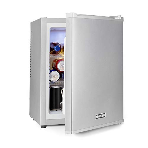 Klarstein Happy Hour - Minibar, Mini-Kühlschrank, Getränkekühlschrank, Kompression, Kühltemperatur: 5-15 °C, lautlos: 0 dB, LED-Licht, 32 Liter, silber