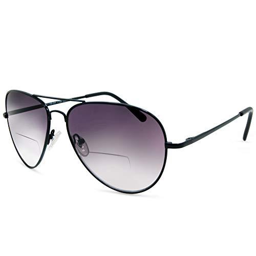 In Style Eyes C.Moore Bifocal Aviator Sunglasses for Women and Men Black 2.75