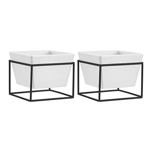 AmazonBasics Pflanztopf für den Tisch, quadratisch, Weiß / Schwarz, 2 Stück