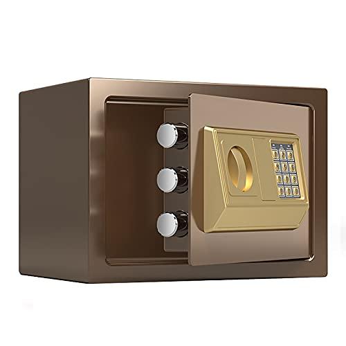 VIY Caja Fuerte Electrónica para Montaje en Pared o Suelo, Caja Fuerte Pequeña para Oficina o Uso doméstico Caja de Seguridad 20 x 31 x 20 cm,Marrón