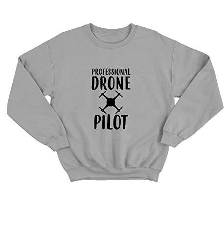 LumaCrewnecks Professional Drone Pilot Funny Quote Fly_001228 Cute Funny Sweater Sweatshirt Pullover Present - 2XL Grey Crewneck