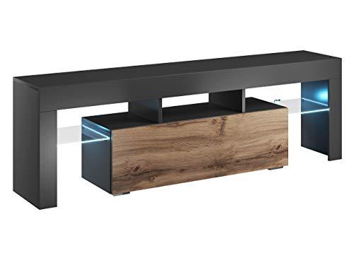Mirjan24 TV Board Lowboard Toro 138, TV Lowboard mit Grifflose Öffnen, Unterschrank, Sideboard Mediaboard, Fernsehschrank, Mediaboard (mit Blauer LED Beleuchtung, Anthrazit/Wotan)