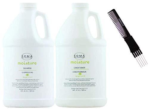 Soma Moisture Shampoo & Conditioner DUO SET (w/ Sleek Premium Carbon Teasing Comb) Hair Cleanser + Condition (64 oz + 64 oz - XXL Half Gallon Kit)
