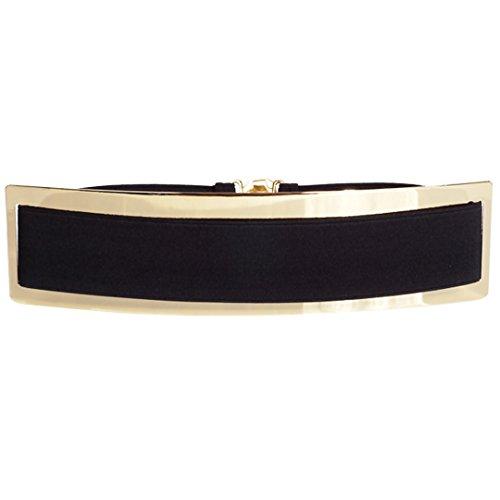 AiSi Damen Fashion Metall Gürtel Kettengürtel Taillengürtel Hüftgurt,Ideal für Kleid, Elegantes Design, Schwarz