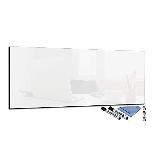 Glas-Magnettafel 30x80 Pinnwand Wand mit Zubehör Whiteboard Küche Deko Office Weiß