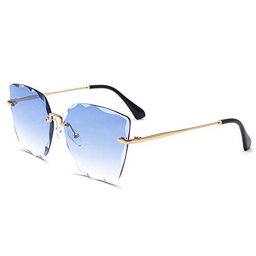 DKEE Gafas de Sol Nuevas Gafas De Sol Sin Montura De Color De Cristal. (Color : Blue)
