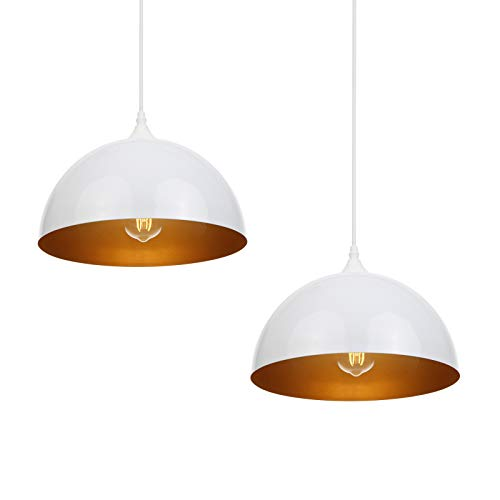 Lámpara techo colgantes, Tomshine lamparas de techo modernas, 2 pack E27 Lámpara colgante techo de Metal para Comedor, Sala, Restaurante, Bar, cafetería