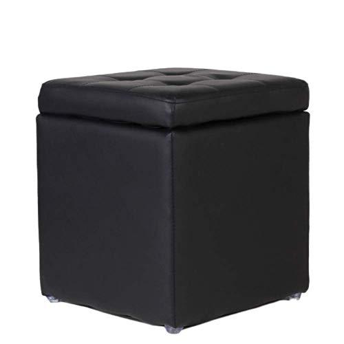 XBCDX Uare - Otomana de Almacenamiento, reposapiés copetudo de Colores Dulces con Tapa abatible, Bonito reposapiés Acolchado para Asiento, Piel sintética, Negro 30x30x35cm (12x12x14 Pulgadas)