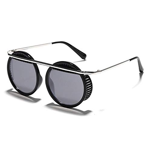 ZZOW Gafas De Sol Steampunk Redondas Retro para Hombre, Gafas De Espejo Gradiente De Moda para Mujer, Gafas De Sol Vintage Punk para Exteriores, Sombras Uv400