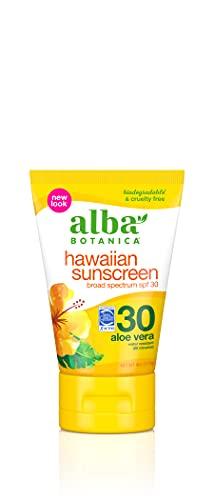 Alba Botanica Hawaiian Sunscreen Lotion, SPF 30, Aloe Vera, 4 Oz (Packaging May Vary)