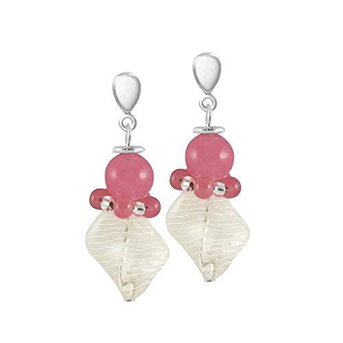Eternal Collection Valentina Pink Murano Glass Drop Pierced Earrings Pink 4.2