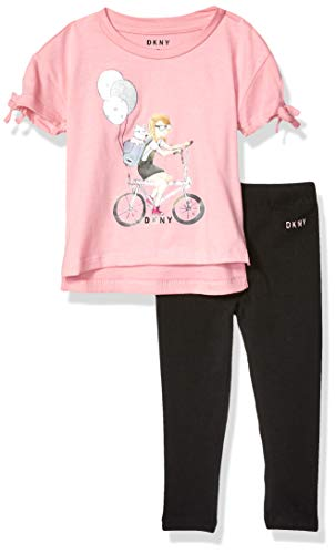 DKNY Toddler Fashion Top and Legging Set (More Styles Available), Walking Girl Caviar, 4T