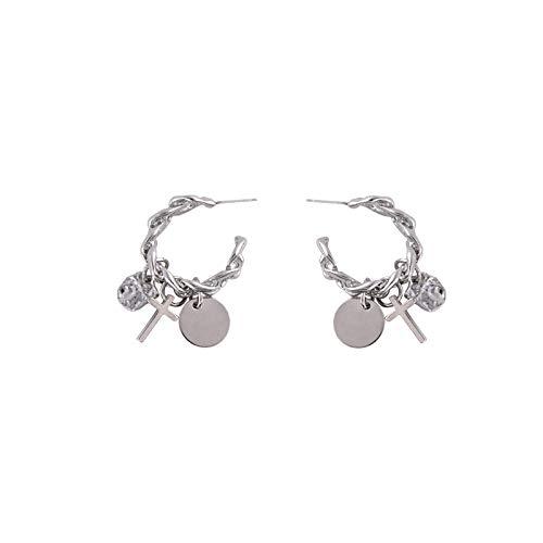 Pendientes colgantes en forma de C de disco cruzado de cadena de aguja de plata 925 pendientes de personalidad pendientes de temperamento de moda
