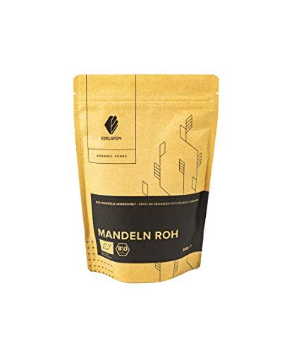 Edelgrün Bio Mandeln Roh 300g   ganze Mandel-kerne mit Schale, nicht geschält, ohne Zucker, Natur belassenaus Spanien 0,3 kg Almonds mit Haut und ohne Zusätze