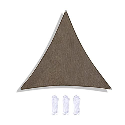GUOXIANG Toldo parasol triangular, impermeable, cortavientos, 2 x 2 x 2 m, con cuerdas, protección UV, exterior, jardín, toldo para terraza, camping, color marrón