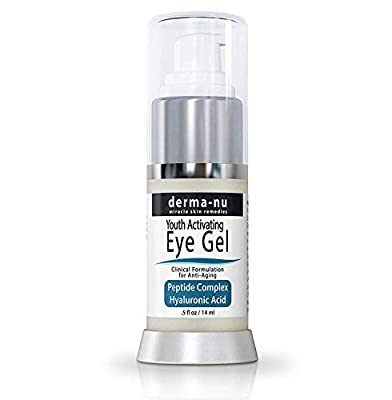 Eye Wrinkle Cream By Derma-nu – Anti Aging Eye Gel Treatment for Dark Circles, Puffiness & Wrinkles - Peptide Collagen Building Formula - Hyaluronic Acid & Amino Acid - .5oz from Derma-nu Miracle Skin Remedies