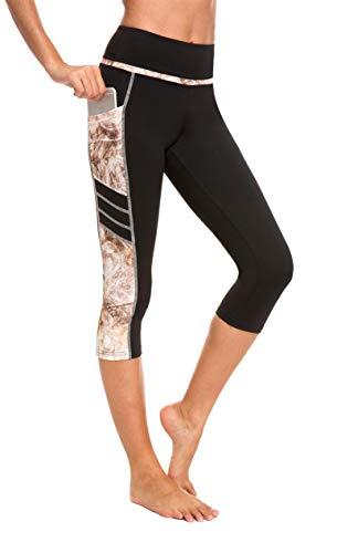 Flatik Damen 3/4 hoher Bund Sport Leggings Sporthose Fitnesshose Training Tights Sporthose für Damen(Rost Gelb M)