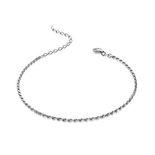 MATERIA Damen Armband 925 Sterling Silber Kordelkette 2mm rhodiniert 18-23cm verstellbar + Box #SA-27