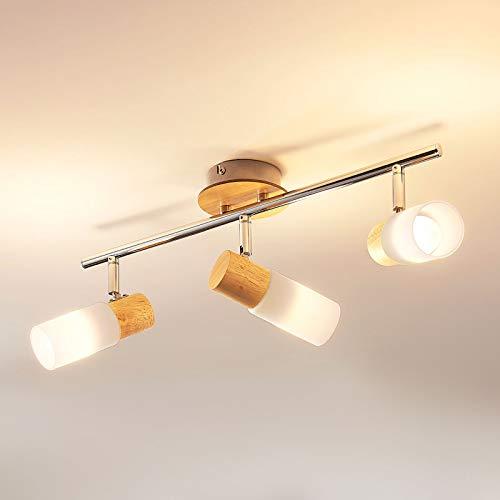 Lampenwelt LED Deckenlampe 'Christoph' (Landhaus, Vintage, Rustikal) aus Holz u.a. für Schlafzimmer (3 flammig, E14, A+, inkl. Leuchtmittel) - Deckenleuchte, Wandleuchte, Strahler, Spot, Lampe