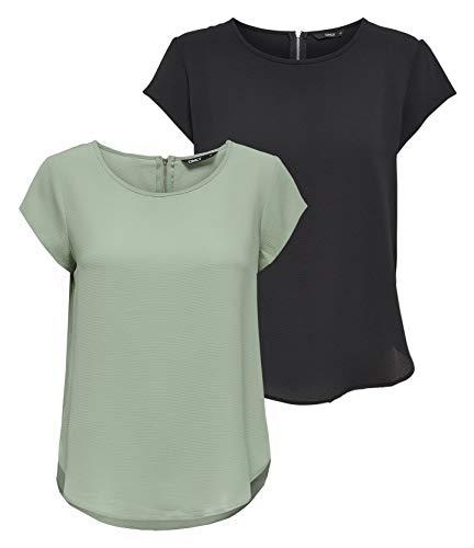 ONLY Camiseta Onlvic S/S Solid Top Noos WVN para mujer, Verde (1x Desert Sage/ 1x Black), 42