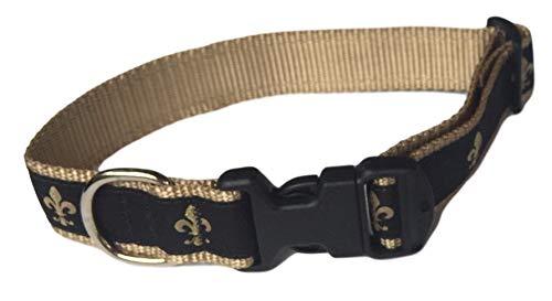 Juego de collar de perro Preston Fleur de Lis en cinta negra y dorada de nailon dorado (pequeño)