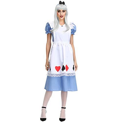 Fancyland 2 Teiliges Trachtenkleid Set, Kleid mit Schürze für Karneval Halloween