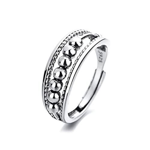 Mayelia Anello aperto ansia in argento con perline girevoli, regolabile, anelli per donne e ragazze