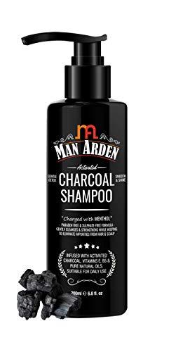Glamorous Hub Man Arden Champú activado con aceite de argán (sin sulfato, parabeno o silicio), 200 ml - Champú aclarador y limpiador diario para hombres