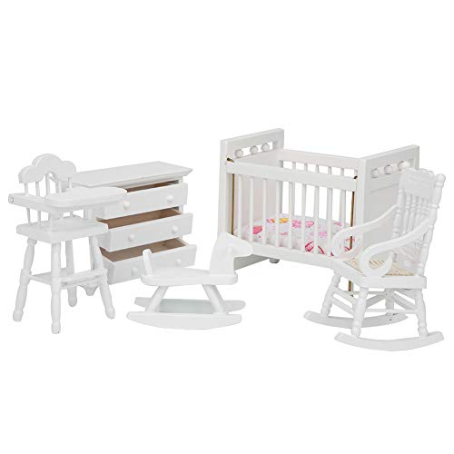 Miniatur Esstisch Stuhl aus Holz, Make-up Dressing Bett Sitzschrank Möbel Set Weiß für 1:12 Puppenhaus(5)
