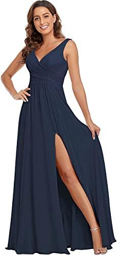 Navy Blue Bridesmaid Dresses, V Neck Split Bridesmaid Dresses Long Chiffon A Line Formal Prom Dress 2021 US18