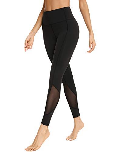 Sykooria Leggings de Malla para Mujer Pantalon Deportivo de Yoga Mallas de Alta Cintura con Tiras Reflectantes Fitness Running Pilates