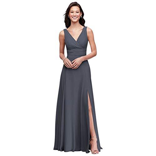David's Bridal Surplice Tank Long Chiffon Bridesmaid Dress Style F19831, Pewter, 2